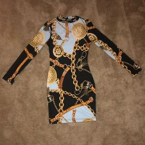 Chain print stretchy dress
